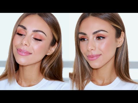 PRETTY ROSY PEACH MAKEUP | NATURAL HOLIDAY GLAM | Annie Jaffrey