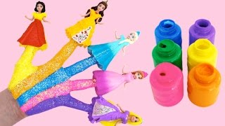 Disney Princess Body Painting Learning Colors for Children with Finger Family Nursery Rhymes