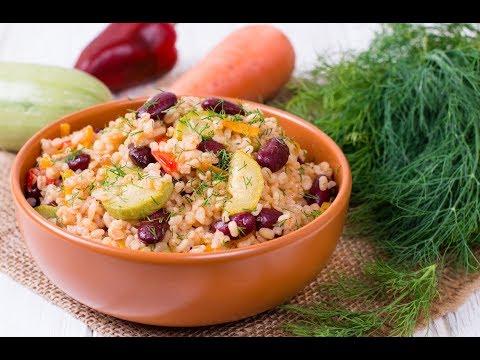 Булгур с красной фасолью и овощами