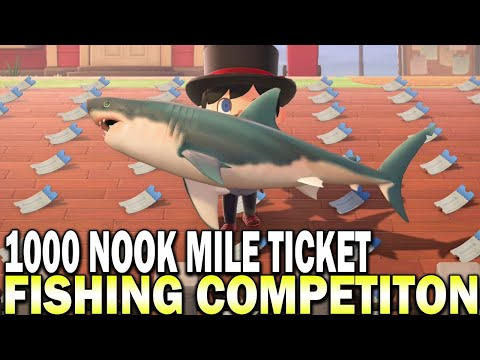 1,000 Nook Mile Ticket Prize Fishing Competition! Animal Crossing New Horizons Gameplay