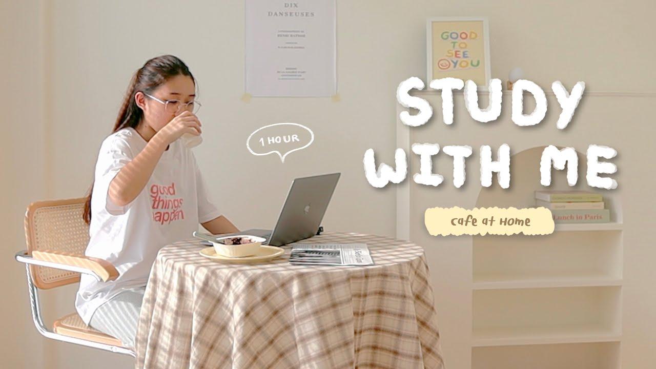 Study with me: Cafe at Home☕️ นั่งทำงาน กินขนมเป็นเพื่อนกันยาวววๆ (1 hr / with music)