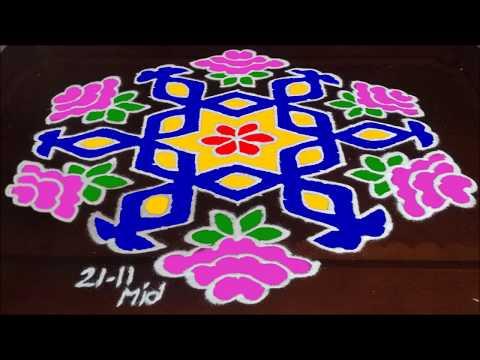 Sankranthi Special Rangoli Designs with 21-11 Dots For Pongal Kolam | Simple Rangoli Designs