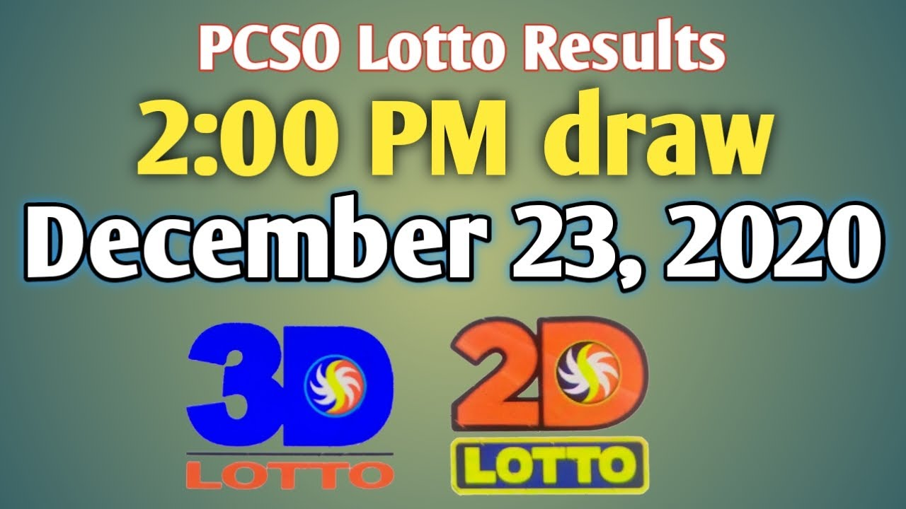 Pcso Lotto Results Today 2pm Draw December 23 2020 Youtube