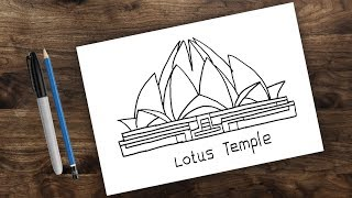 Lotus temple drawing for kids easy, how to draw Lotus Temple