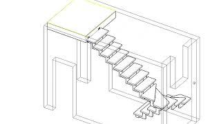 Лестница с забежными ступенями на 180 градусов