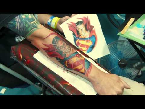 Kirt Silver time lapse Superman tattoo