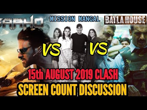 AKSHAY KUMAR'S MISSION MANGAL vs PRABHAS'S SAAHO vs JOHN ABRAHAM'S BATLA HOUSE | SCREEN COUNT DETAIL