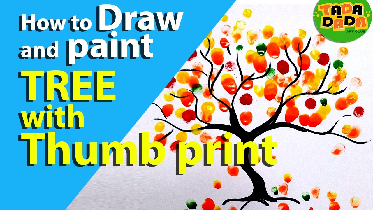 How to make COLORFUL TREE WITH THUMB PRINT | STEP BY STEP | Kids ...