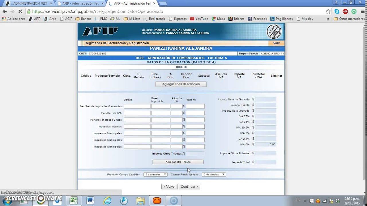 como hacer factura electronica en linea en pagina de afip youtube