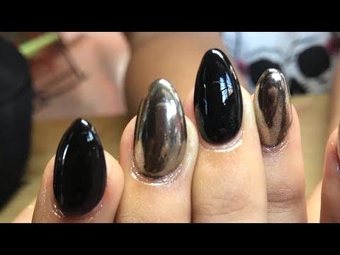 Uñas Negras Con Efecto Espejo Uñas Esculturales Youtube