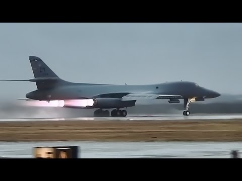 B-1 Bombers Takeoff With Afterburners Glowing • The Bone