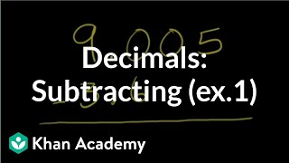 Subtracting decimals example 1 | Decimals | Pre-Algebra | Khan Academy
