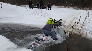 Снегоход // Покатушки  // ATV Club //  Zelenograd // Snowmobile in water(Поездка Extreme Club Zelenograd в Степаново 31.01.2015 динамичная поездка на