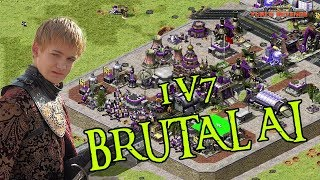 1v7 BRUTAL AI - Getting the high ground!  ( Command & Conquer - Yuris Revenge )