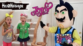 Hello Neighbor in Real Life Steals JoJo Siwa Subscription Box! Merch & Toy Scavenger Hunt!