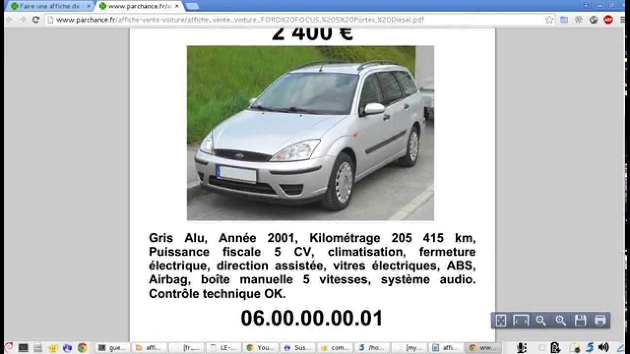Connu Comment faire une affiche de vente de voiture ? - YouTube SG12