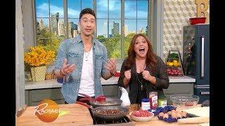 Chef Ronnie Woo shows Rachael Ray how to make Cheeseburger Pie