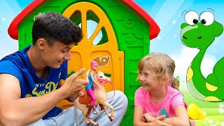 Alena plays with toy animals and other funny story for kids