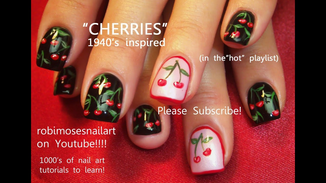 Nail Art Tutorial | Easy Cherry Nails | Cherries nail design - Nail Art Tutorial Easy Cherry Nails Cherries Nail Design - YouTube