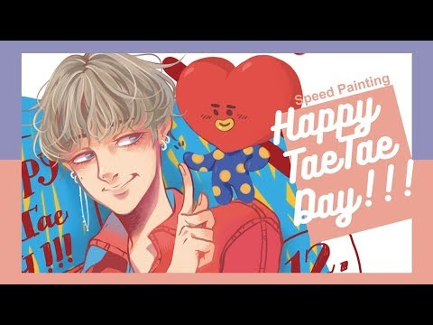 [Speed Paint] Late Happy Taehyung Day! BTS Fan Art 食指擊掌!嘿!