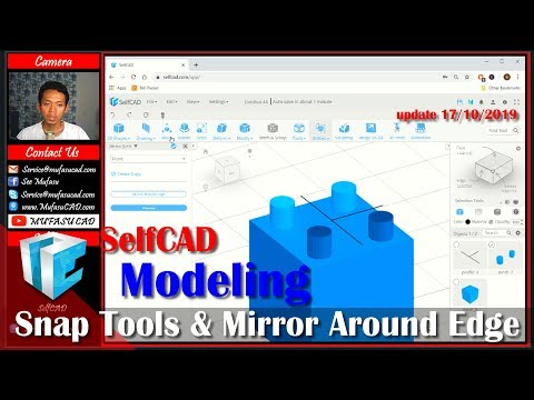 SelfCAD Snap Tools And Mirror Around Edge Tutorial For Beginner thumbnail