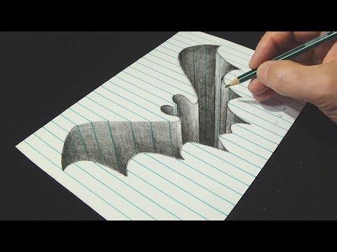 The Bat Hole - Drawing Bat Hole in Line Paper - 3D Trick Art - Vamos