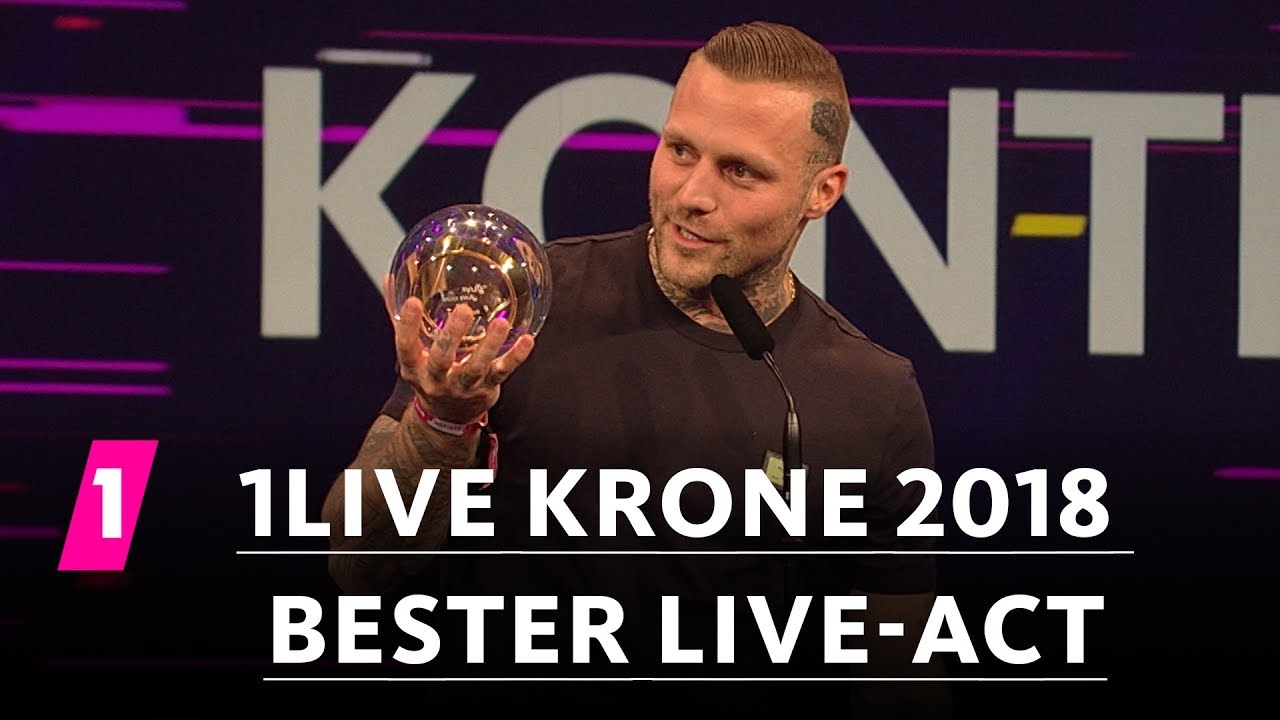 Kontra K Ist Bester Live Act 1live Krone 2018 Youtube