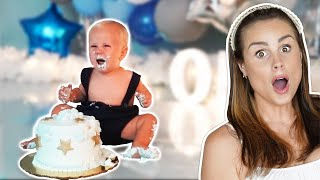 KOA'S 1st BIRTHDAY CAKE SMASH photoshoot *WORST REACTION!*