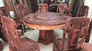 TỦ Rượu và Bàn ăn 8 ghế gỗ cẩm lai việt