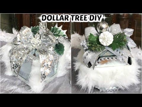 DIY DOLLAR TREE CHRISTMAS MIRROR GIFT BOX DECOR 2019 | DIY GLAM HOME DECOR