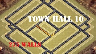 CLASH OF CLANS| New Town Hall 10 (TH10) War Base - 275 Walls with Defense Replay