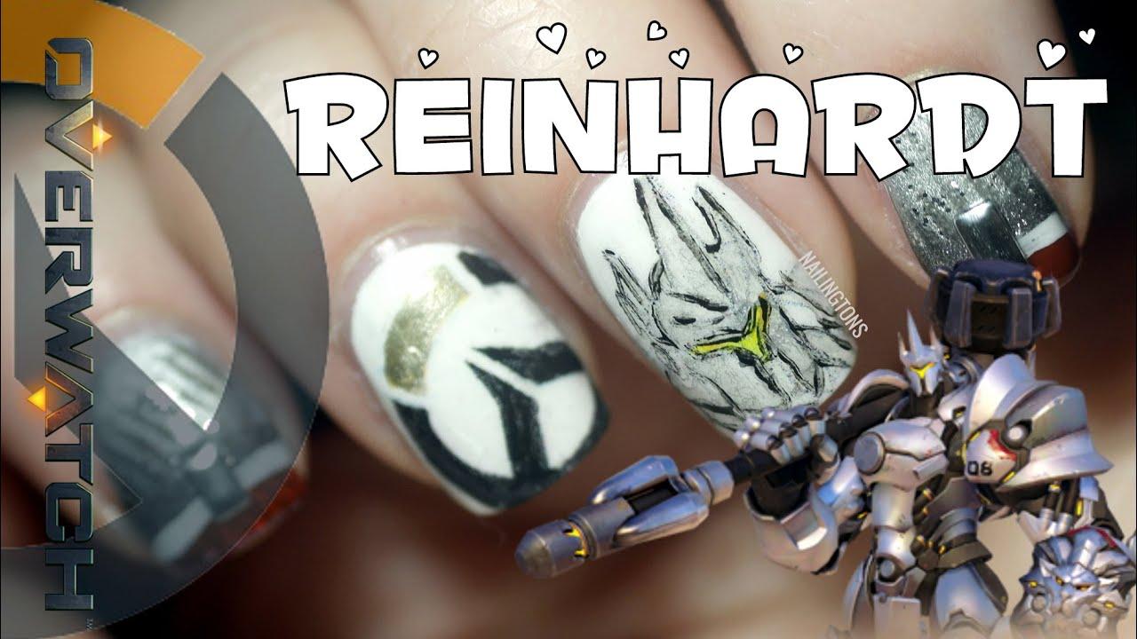 Nerdy Nails: Overwatch Reinhardt Nail Art Tutorial Thingy - YouTube