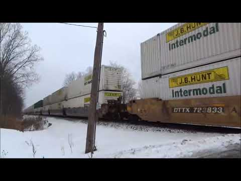 Missed The Engines On Fast 60MPH NS Intermodal 22K - Mentor Ohio Jan 2018