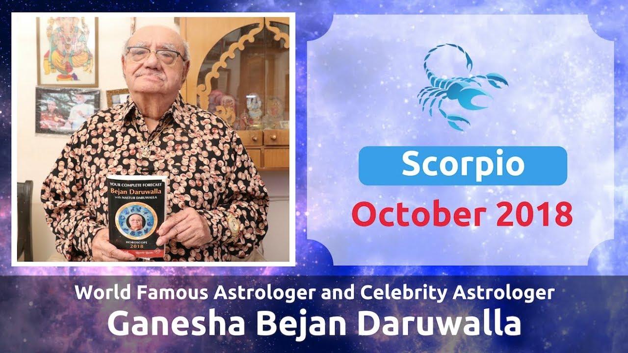 SCORPIO OCTOBER 2018 ASTROLOGY HOROSCOPE FORECAST BY ASTROLOGER GANESHA  BEJAN DARUWALLA