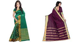 Women's cotton Silk Saree With Blouse Piece in Goli Variation
