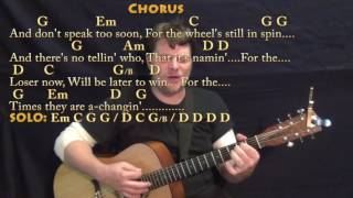 The Times They Are A-Changin' (Bob Dylan) Strum Guitar Cover Lesson with Chords/Lyrics