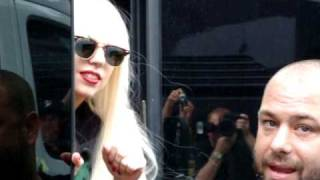 Gaga pops her head out of the tour bus