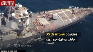 US destroyer collides with container ship thumbnail