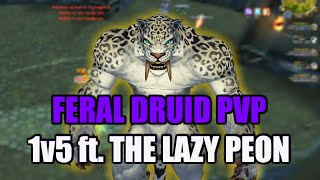 WoD 6.1.2 Feral Druid PvP - 1v5 ft. The Lazy Peon [6.1 Duels - Fury War, Frost DK, Ret Pala, Feral]