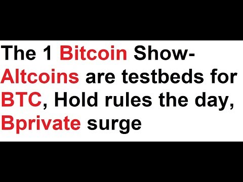 The 1 Bitcoin Show-Altcoins are testbeds for BTC, Hold rules the day, Bprivate surge