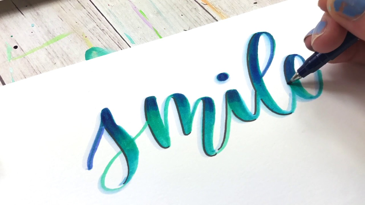 Hand Lettering Drop Shadow Practice W A Smile