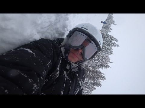 snowboarding with Sony action cam wrist strap raw footage