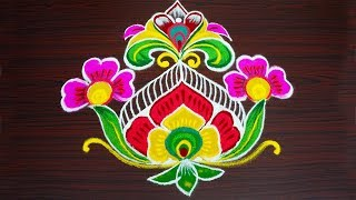 Simple flower rangoli art designs with 9x1 dots beautiful kolam designs easy muggulu