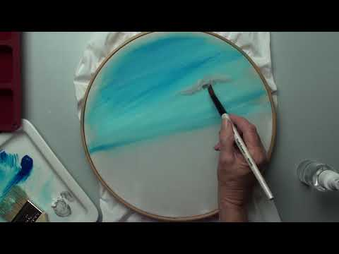 Fabric Painted Landscape in a Hoop