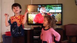 Kids dancing to Magnum P.I. Theme song
