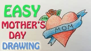 mothers drawings happy mother gift draw easy step idea paintingvalley