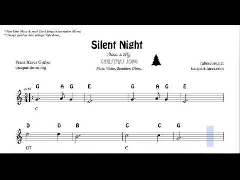 Silent Night Christmas Notes  Sheet Music for Flute Violin Oboe Voice Easy Carol Song Silent Night