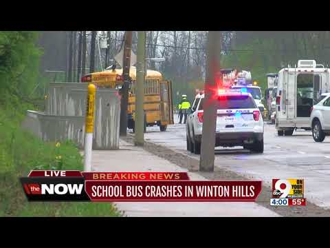 At least 11 children hurt when school bus, other vehicles crash on Winton Road