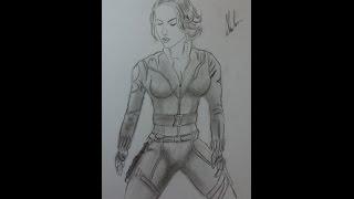 Dibujo de La Viuda Negra de Avengers/Drawing Black Widow