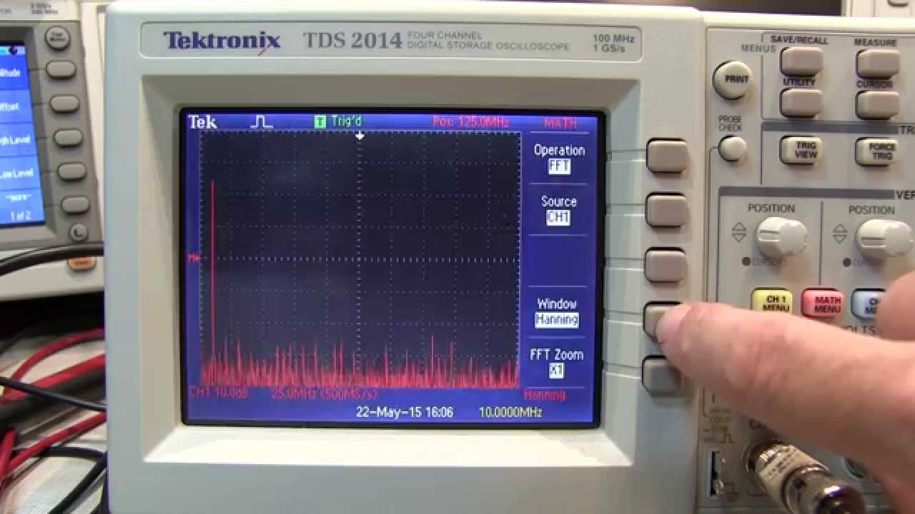 202 Basics Of Using Fft On A Tektronix Tds2000 Oscilloscope Youtube
